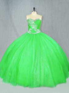 Lace Up Sweetheart Beading Sweet 16 Dresses Tulle Sleeveless