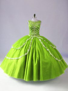 Cute Sleeveless Floor Length Beading and Appliques Zipper Sweet 16 Dresses with