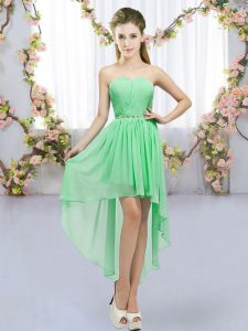 Superior Green Empire Sweetheart Sleeveless Chiffon High Low Lace Up Beading Bridesmaid Dress