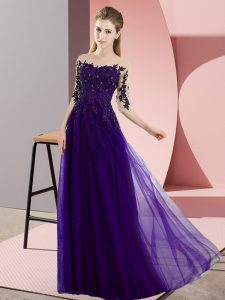 Purple Half Sleeves Chiffon Lace Up Bridesmaids Dress for Wedding Party