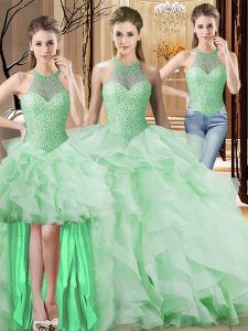 Hot Selling Sleeveless Beading and Ruffles Lace Up Quinceanera Dresses with Apple Green Brush Train