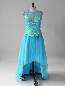 Best Selling Aqua Blue Red Carpet Prom Dress Prom and Party and Military Ball with Beading Scoop Sleeveless Lace Up