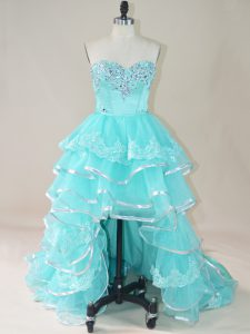 Aqua Blue Prom Gown Prom and Party with Beading and Lace and Ruffled Layers Sweetheart Sleeveless Lace Up