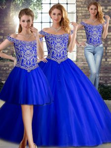 Sleeveless Beading Lace Up Sweet 16 Dresses with Royal Blue Brush Train