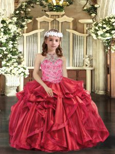 Beading and Ruffles Little Girls Pageant Gowns Red Lace Up Sleeveless Floor Length