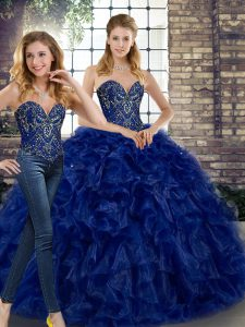 Royal Blue Sleeveless Beading and Ruffles Floor Length Quinceanera Gowns