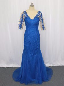 Blue Tulle Zipper Scoop 3 4 Length Sleeve Prom Dress Brush Train Lace and Appliques