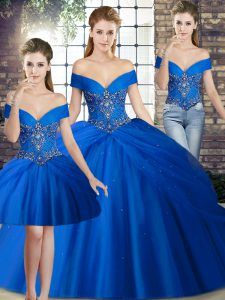 Sweet Royal Blue Off The Shoulder Neckline Beading and Pick Ups Quinceanera Gown Sleeveless Lace Up