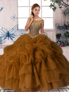 High Quality Brown Zipper Quinceanera Gown Beading and Pick Ups Sleeveless Brush Train
