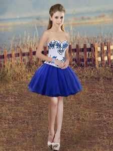 Royal Blue Lace Up Sweetheart Embroidery Prom Dresses Tulle Sleeveless