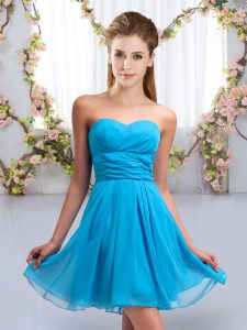 Sleeveless Mini Length Ruching Lace Up Quinceanera Court of Honor Dress with Aqua Blue