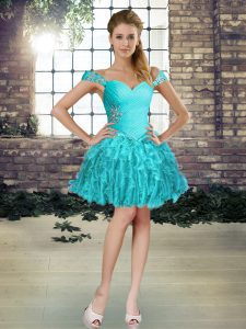 Stylish Mini Length Aqua Blue Prom Party Dress Off The Shoulder Sleeveless Lace Up