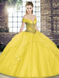 Delicate Gold Tulle Lace Up Off The Shoulder Sleeveless Floor Length Ball Gown Prom Dress Beading and Ruffles