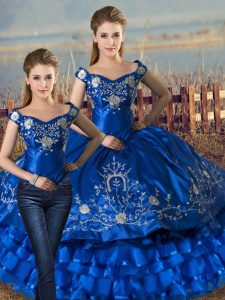 Best Royal Blue Satin and Organza Lace Up Quinceanera Dresses Sleeveless Floor Length Embroidery and Ruffled Layers