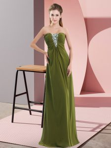 Sexy Floor Length Empire Sleeveless Olive Green Prom Party Dress Zipper