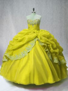 Olive Green Ball Gowns Beading and Appliques and Pick Ups 15th Birthday Dress Lace Up Organza Sleeveless Floor Length