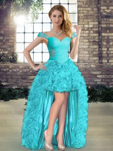Dramatic Aqua Blue A-line Organza Off The Shoulder Sleeveless Beading and Ruffles High Low Lace Up Evening Dress