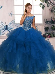 Elegant Blue Sleeveless Organza Zipper 15th Birthday Dress for Military Ball and Sweet 16 and Quinceanera