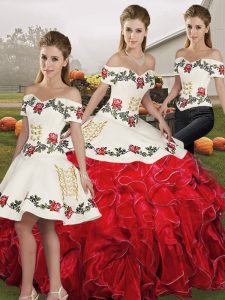 Cute Sleeveless Floor Length Embroidery and Ruffles Lace Up 15 Quinceanera Dress with White And Red