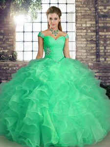 Organza Off The Shoulder Sleeveless Lace Up Beading and Ruffles 15 Quinceanera Dress in Turquoise