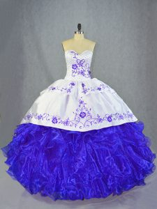Popular Sleeveless Brush Train Lace Up Beading and Embroidery and Ruffles Sweet 16 Dress