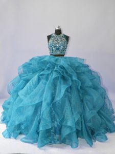 Deluxe Sleeveless Floor Length Beading and Ruffles Backless 15 Quinceanera Dress with Teal Brush Train
