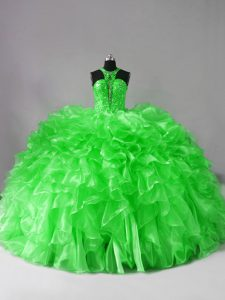 Great Lace Up Vestidos de Quinceanera Beading and Ruffles Sleeveless Brush Train