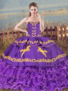 Purple Ball Gowns Sweetheart Sleeveless Organza Lace Up Embroidery and Ruffled Layers Sweet 16 Dress
