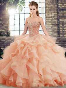 Custom Designed Sleeveless Beading and Ruffles Lace Up Quinceanera Dress with Peach Brush Train