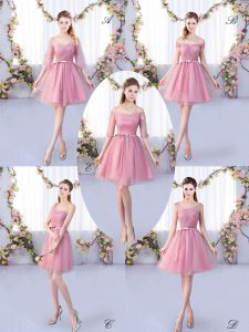 Attractive Pink Half Sleeves Tulle Lace Up Quinceanera Court of Honor Dress for Wedding Party