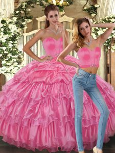 Excellent Sleeveless Asymmetrical Beading and Ruffles and Pick Ups Lace Up Quince Ball Gowns with Pink