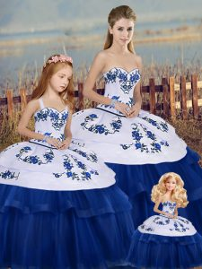 Royal Blue Sleeveless Embroidery and Bowknot Floor Length Sweet 16 Quinceanera Dress