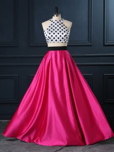 Glamorous Sleeveless Satin Floor Length Lace Up Homecoming Party Dress in Hot Pink with Ruching