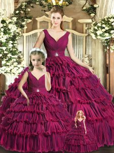 Shining Burgundy Sleeveless Floor Length Ruffled Layers Backless Sweet 16 Dress