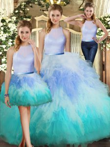 Beautiful Tulle High-neck Sleeveless Backless Ruffles Sweet 16 Dresses in Multi-color