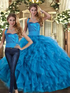 Stunning Blue Quince Ball Gowns Military Ball and Sweet 16 and Quinceanera with Ruffles Halter Top Sleeveless Lace Up