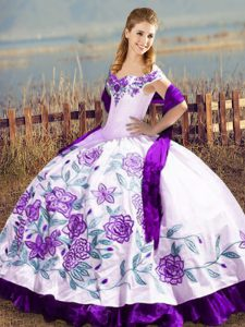 Popular White And Purple Sleeveless Embroidery and Ruffles Floor Length Ball Gown Prom Dress