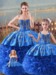 Attractive Zipper Quinceanera Gown Royal Blue for Sweet 16 and Quinceanera with Embroidery and Ruffles Brush Train