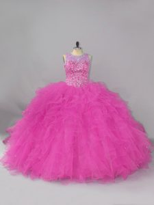 Fuchsia Quinceanera Dress Scoop Sleeveless Lace Up