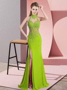 Low Price Green Dress for Prom Prom and Party and Military Ball with Lace and Appliques Halter Top Sleeveless Backless