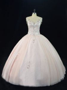 V-neck Sleeveless Lace Up 15 Quinceanera Dress Pink Tulle