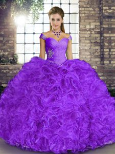 Lavender Sleeveless Floor Length Beading and Ruffles Lace Up Vestidos de Quinceanera