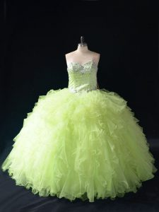Admirable Floor Length Ball Gowns Sleeveless Yellow Green Ball Gown Prom Dress Lace Up