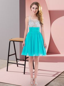 Aqua Blue Side Zipper Scoop Beading Damas Dress Chiffon Sleeveless