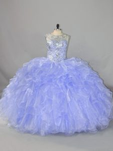 Fitting Scoop Sleeveless Organza Ball Gown Prom Dress Beading and Ruffles Lace Up