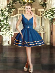 Smart Ruffled Layers Homecoming Dresses Blue Backless Sleeveless Mini Length