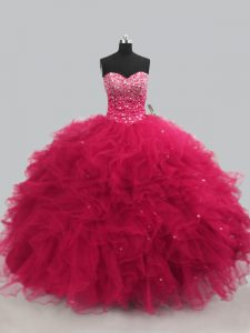 New Arrival Hot Pink Lace Up Sweetheart Beading and Ruffles 15th Birthday Dress Tulle Sleeveless