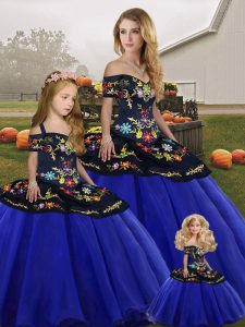 Sexy Royal Blue Tulle Lace Up Off The Shoulder Sleeveless Floor Length Vestidos de Quinceanera Embroidery