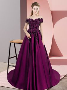 Eye-catching Purple Zipper Quince Ball Gowns Lace Sleeveless Court Train