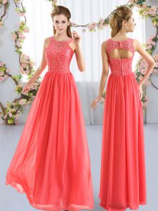 Fashionable Coral Red Chiffon Zipper Scoop Sleeveless Floor Length Quinceanera Court Dresses Lace